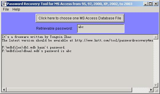Click to view Password Recovery for MS Access 1.0 screenshot
